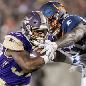 Atlanta Legends player carries the ball against the Orlando Apollos on 2-9-2019 in Orlando, Fl.